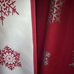 Rideau montagne rouge avec flocon de neige double face haut de gamme
