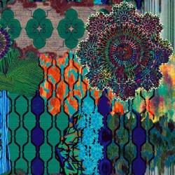 tissu ameublement ethnique chic bleu vert au m tre. Black Bedroom Furniture Sets. Home Design Ideas