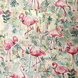 Pink flamingo fabric woven