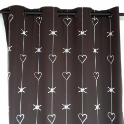 Contemporary heart curtain marron