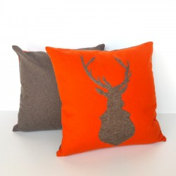 deer orange cushion cover