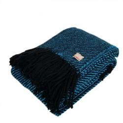Plaid tricoté bleu turquoise